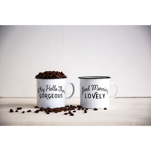 3R Studio Enamel Cup with Saying, Set of Two