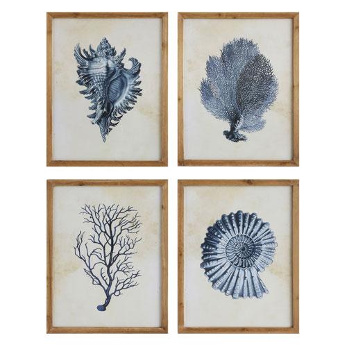 3R Studio Blue Sea Life Wood Wall Plaque, Set of Four