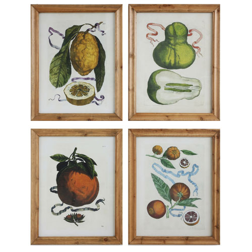 Vintage Fruit 28 In. Wood Wall Plaque, Set of Four