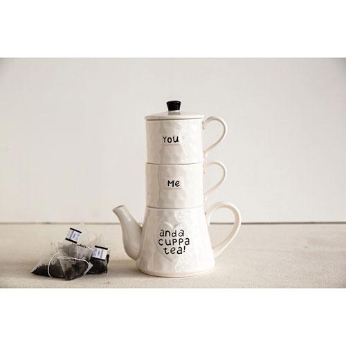 You Me and a Cup of Tea Teapot and Mug, Set of Two