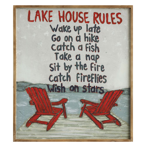 Lake House Rules Wood Wall Plaque