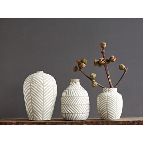 3R Studio Tall White Terracotta Vase