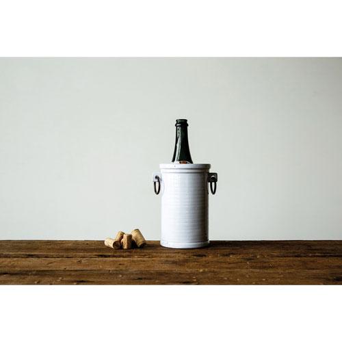 3R Studio Antique White Terracotta Wine Cooler with Metal Handle