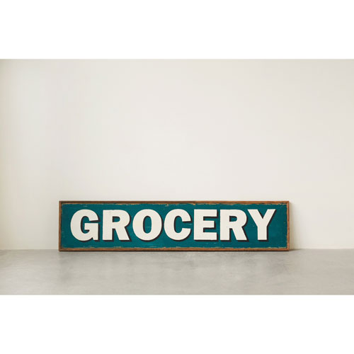 3R Studio Grocery Wood Hand-Painted Wall Décor