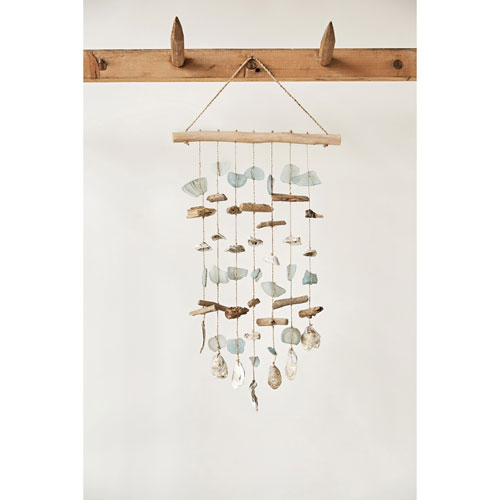Driftwood Sea Glass and Shell Windchime Wall Decor