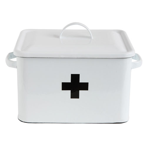 White Enameled First Aid Box with Lid