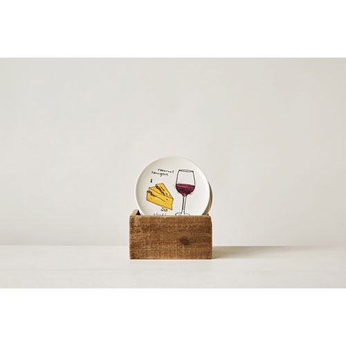 Round 6 In. Wine and Cheese Pairing Plate, Set of Six