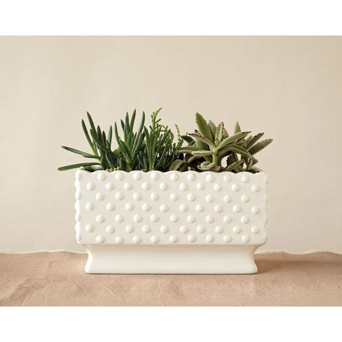 White Ceramic Hobnail Planter