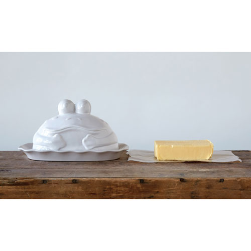 White Stoneware Frog Shaped Butter Dish