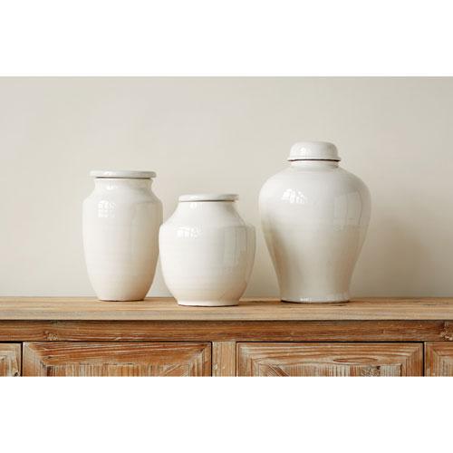 3R Studio Medium White Round Terracotta Cachepot