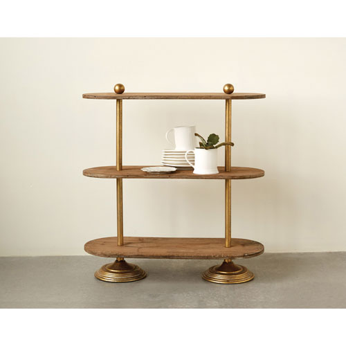 3R Studio Metal and Wood Three-Tier Shelf