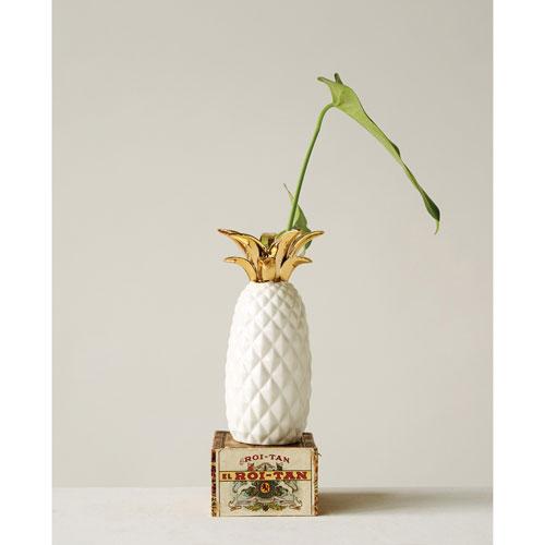 3r Studio White And Gold Pineapple Vase Da7302 Bellacor
