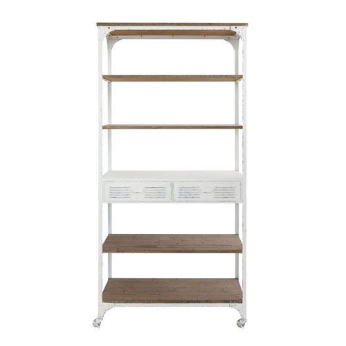 White Metal and Wood Shelf on Casters