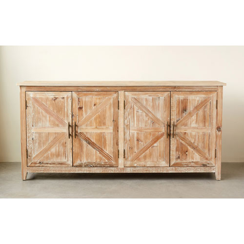 3R Studio Distressed Brown Cabinet with Four Doors