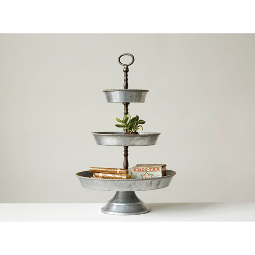 Decorative Galvanized Metal Three-Tier Tray with Handle