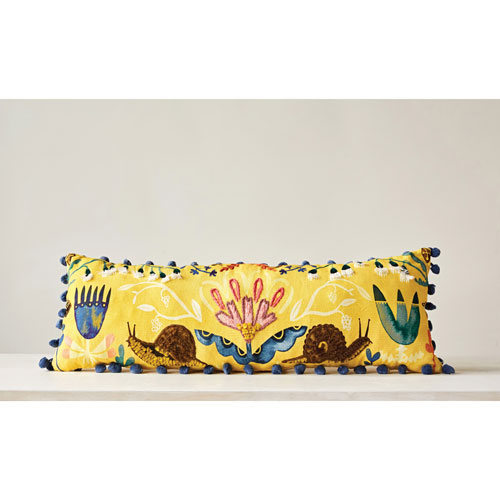 Cotton 28 x 20 In. Embroidered Pillow with Pom-Pom Trim