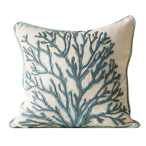 3R Studio Blue Coral 18 In. Square Cotton Beaded Pillow