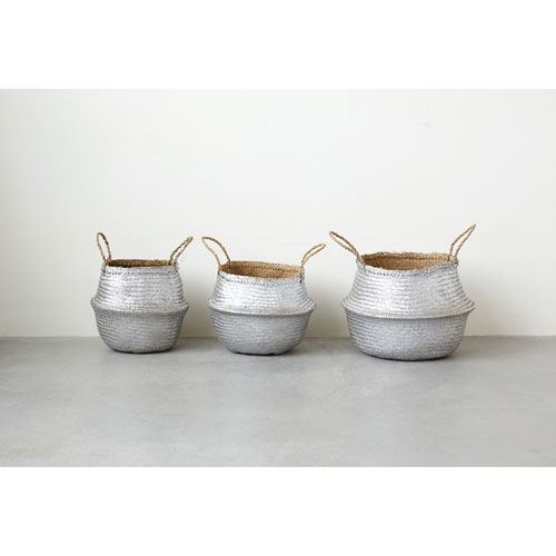 3R Studio Silver Round Seagrass Collapsible Baskets