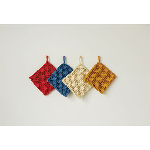 Square Cotton 8 In. Crocheted Potholder, Set of Four