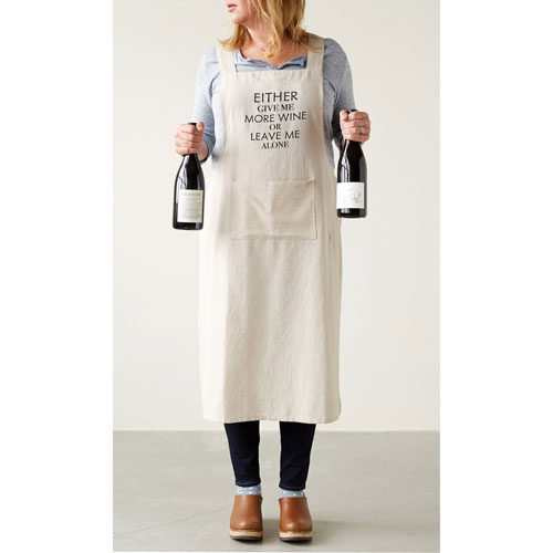 Chambray Give Me More Wine Cross-Back Apron