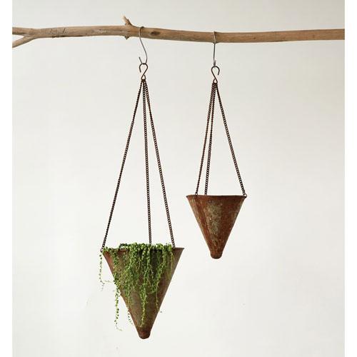 Distressed Zinc Iron Hanging Cone Planter