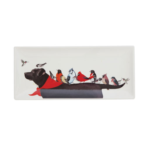 Plate with Birds on Dog Decal