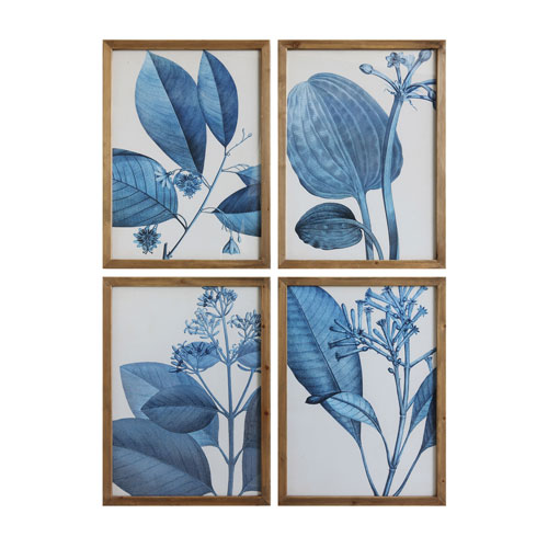 3R Studio Blue Botanical Wood Framed Wall Art, Set of Four