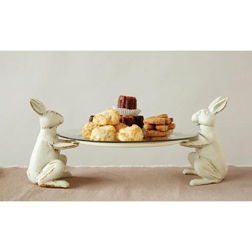 Antique White Cast Iron Rabbit Plate Holder
