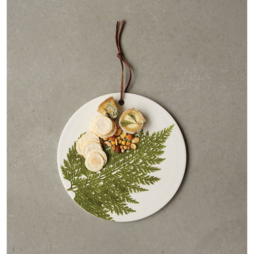 Round Stoneware Cheese Board Platter with Fern