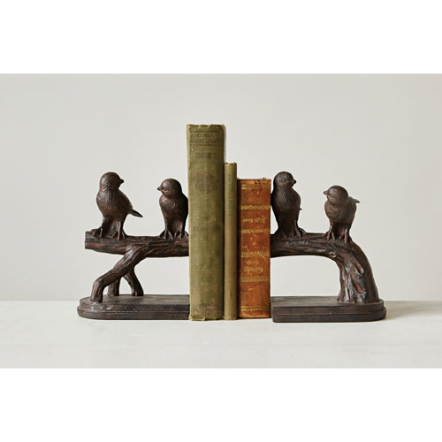 Rust Bird on Branch Bookends