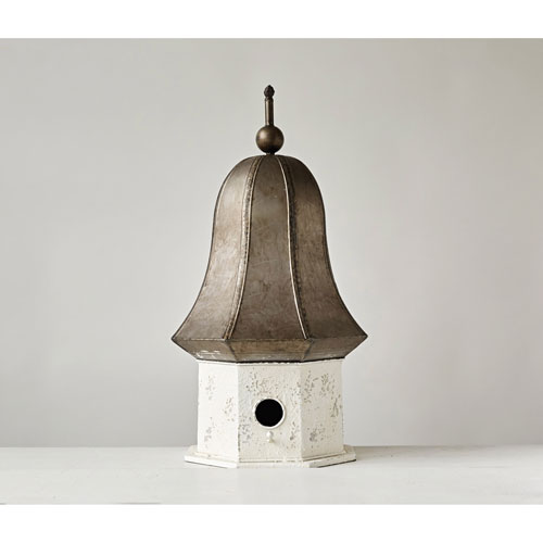 Distressed Cream and Bronze Decorative Metal Birdhouse