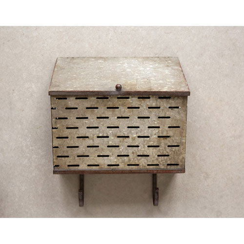 3R Studio Metal Wall Container with Two Hooks