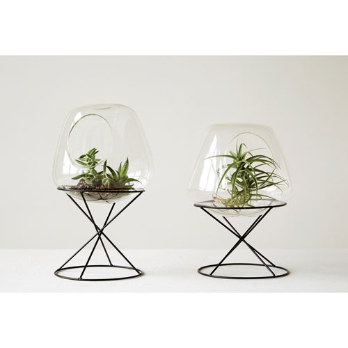3R Studio Glass Terrarium with Metal Stand, Set of Two