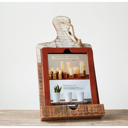 White Dripped Wood Tablet Holder
