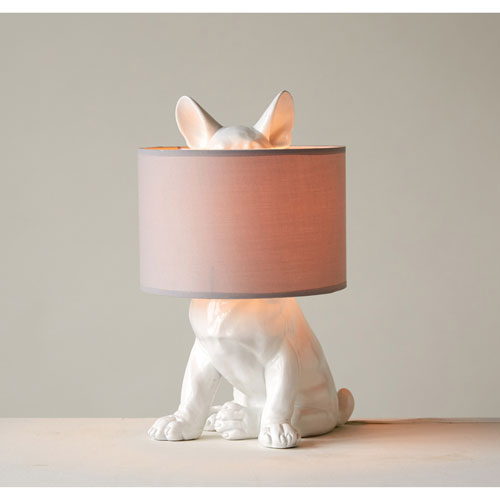 Dog Shaped Lamp with Linen Shade