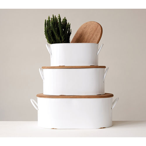 White Decorative Metal Boxes with Wood Lid