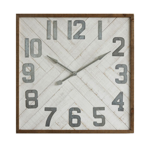 3R Studio Square 36 In. Wood and Metal Wall Clock