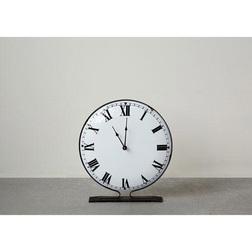 Distressed Brown Metal Round Standing Clock