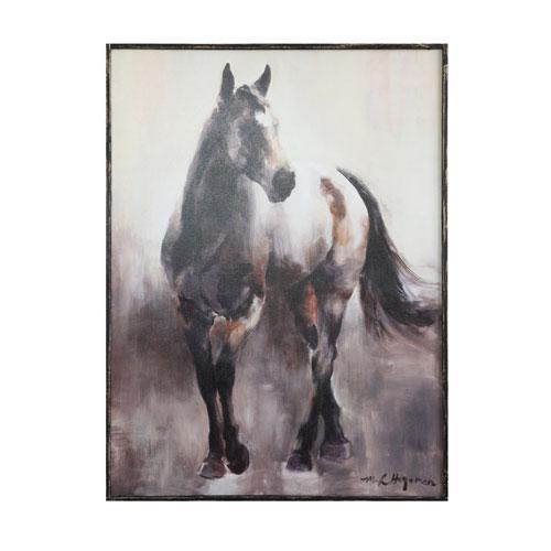 3R Studio Stern Horse Wood Framed Canvas Wall Art