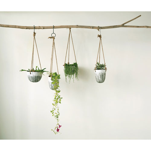 3R Studio Heavily Distressed Round Hanging Terracotta Planter