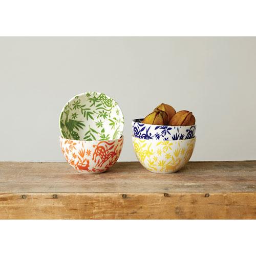 3R Studio Round Oxanna Print Stoneware Bowl, Set of Four