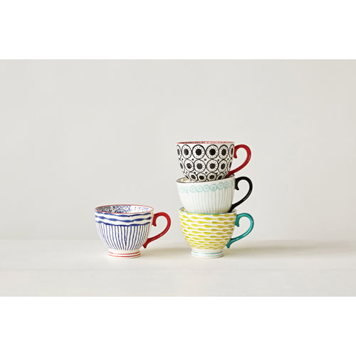 Hand-Painted Mug, Set of Four