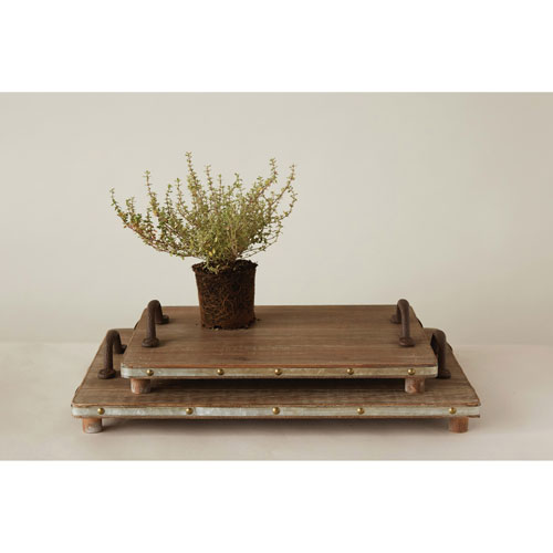 Decorative Wood Trays with Cast Iron Handles