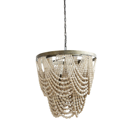 3R Studio Round Three-Light Metal and Wood Bead Chandelier