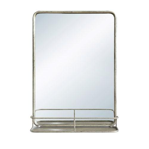 Antique Nickel Metal Wall Mirror with Shelf