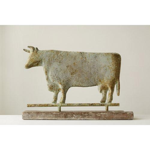 3R Studio Distressed Magnesia Cow on Pine Wood Base
