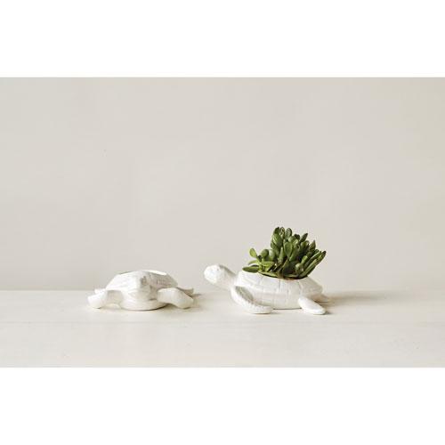 White Ceramic Turtle Planter