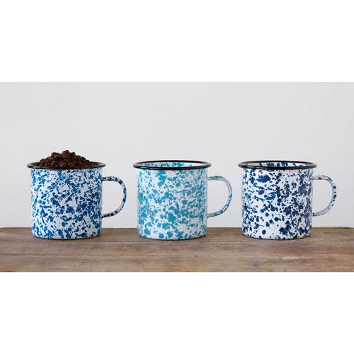 Blue Splatter Enameled Mugs, Set of Three