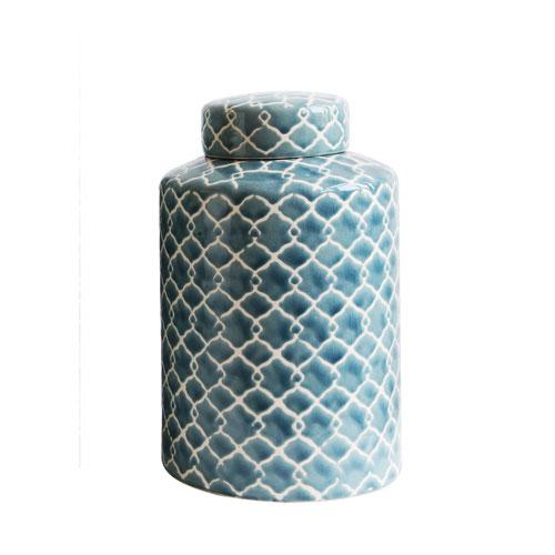 Short Blue Fret Hand-Painted Ginger Jar