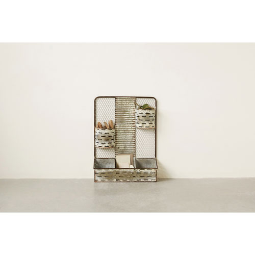 Distressed Metal Organizer with Five Compartments